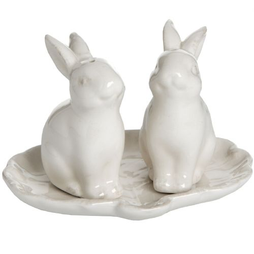 Bunny Rabbit Salt and Pepper Set - White Country Farmhouse Rabbit Shape Salt and Pepper Pots